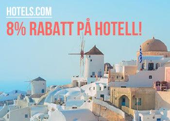 8% rabatt på hotell hos Hotels.com