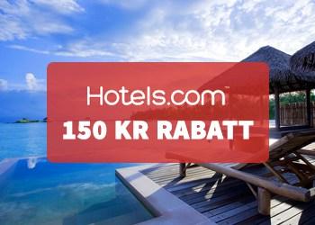 150 kr rabatt på hotell hos Hotels.com