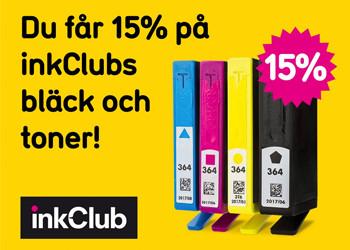 15% rabatt på inkClubs bläck och toners
