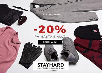 20% rabatt på nästan allt hos Stayhard