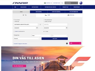 Finnair Screenshot